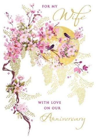 Tarjeta de aniversario para esposa de Nigel Quiney - Flor de cerezo, pájaros y sol - acabado de aluminio - para ella