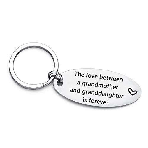 Mother's Day Birthday Gifts for Grandma from Granddaughter, The Love Between a Grandmother and Granddaughter is Forever Keychain, Grandma Christmas Gift Key Chain (Grandma Granddaughter)