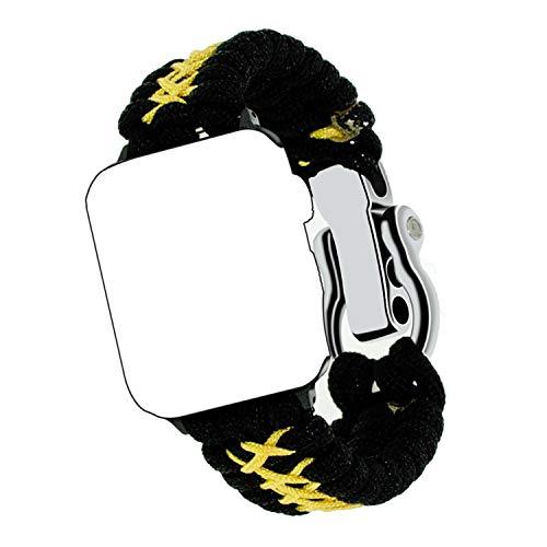 Qianyou Kompatibel mit Apple 1/2/3/4 Paracord Armband 38MM/40MM, Survival Nylon Loop Einstellbar Weben Ersatzarmband mit Metall Verschluss Notfallarmband Strap mit Schraubendreher, Schwarz Gelb