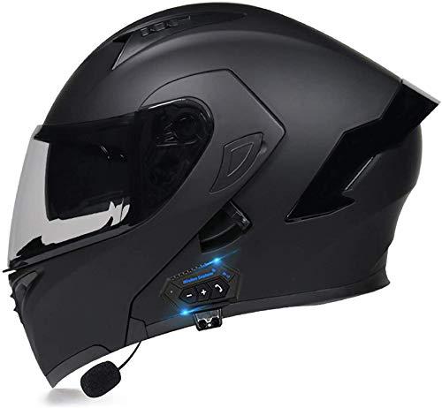 EBAYIN Integralhelm Motorradhelm Integriertes Bluetooth-Headset für Motorrad-Flip-Helme, Modularer Flip-Helm mit Doppelter Walkie-Talkie-Brille,von Der ECE Zugelassener Helm,E-XL=(61~62CM)