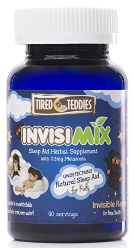 Tired Teddies Invisimix Undetectable Natural Sleep Aid for Kids Melatonin Liquid Mix-in. Low dose melatonin (0.3 mg) Herbal Supplement