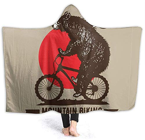 Bike Ride Mountain Bike Hooded Blanket 50'x40' Printed Wearable Blanket Ultra Soft Cozy Thick Throw Blankets Winter Fleece Large Cloak Warm Throw Wrap for School Comping Travel