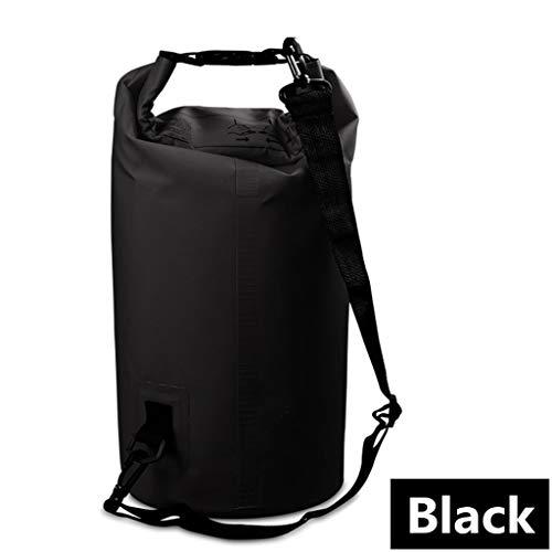 Juego de bolsas secas impermeables para exteriores, bolsa de almacenamiento impermeable para rafting, deportes, viajes, natación, secado para camping, barco, kayak, rafting, pesca (negro)