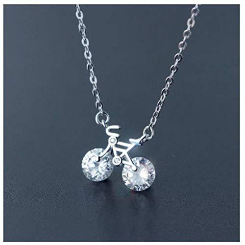 Good dress S925 Silber Halskette Anhänger Weibliche Mode Liebe Mini Fahrrad Verzierte Anhänger Fahrrad Schlüsselbein Kette, S925 Silberkette, Wie Gezeigt