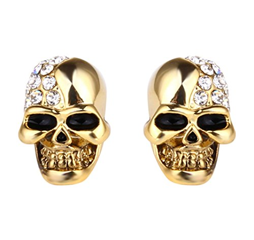 Xusamss Punk Body Piercing Earrings Stainless Steel Crystal Skull Stud Earrings