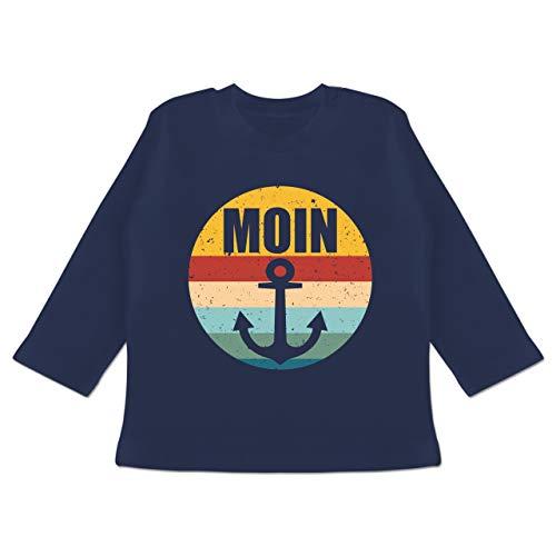 Sport Baby - Moin mit Anker Retro - 3/6 Monate - Navy Blau - Fun - BZ11 - Baby T-Shirt Langarm