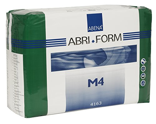 """The Abena Abri-Form Comfort size M4 fits hips 27.5""""-43""""; Absorbs up to 122 fl oz Optimal leakage protection provided by plastic-backing and soft, reliable leakage barriers extended right to the edge High quality hook and loop tapes for optimal fit an..."""