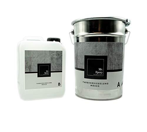Mr. Epoxy Bodenbeschichtung aus 2k Epoxidharz zur Verwendung als Garagenfarbe, Kellerfarbe, Industriefarbe 5 kg, RAL 7036 Platingrau