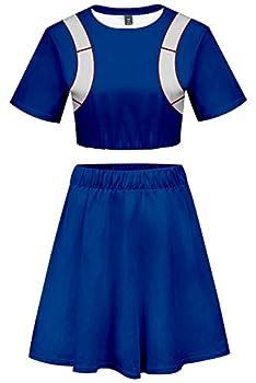 My Hero Academia Todoroki Shoto Cosplay Costume Cheerleader Cheerleading Uniform Crop Top Dress  Large Blue