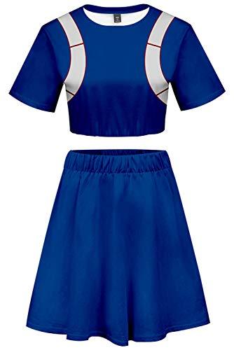 My Hero Academia Todoroki Shoto Cosplay Costume Donna Cheerleader Uniforme Adulto Anime Crop Top Vestito Blu Blu XS