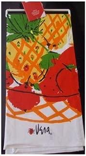 Vera Neumann Ladybug Kitchen Tea Towel, Orange Luau Pineapple Fruit Basket