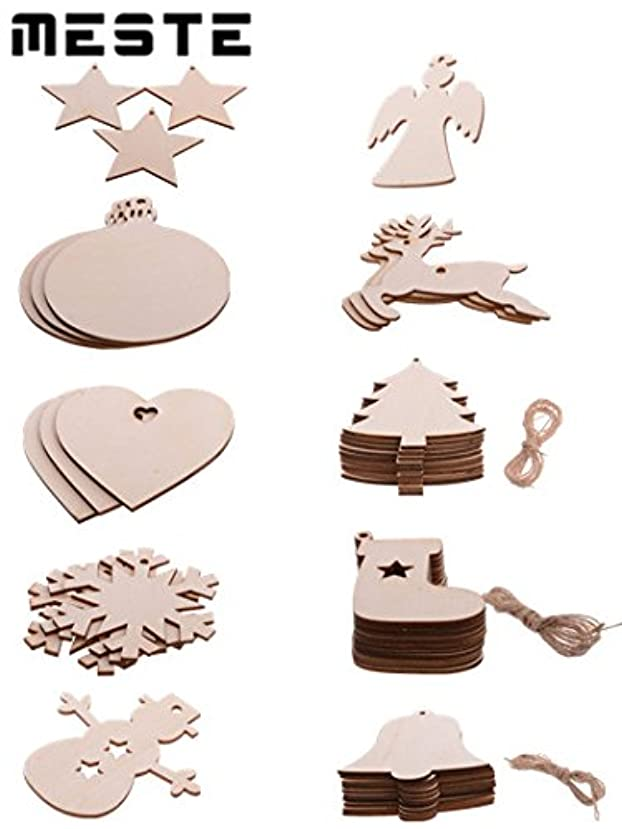 Wooden Christmas Tree Ornaments,MESTE 20pcs DIY Christmas Tree Decorations Unfinished Wooden Slices Hanging Ornaments 10 with Natural Twine Kits