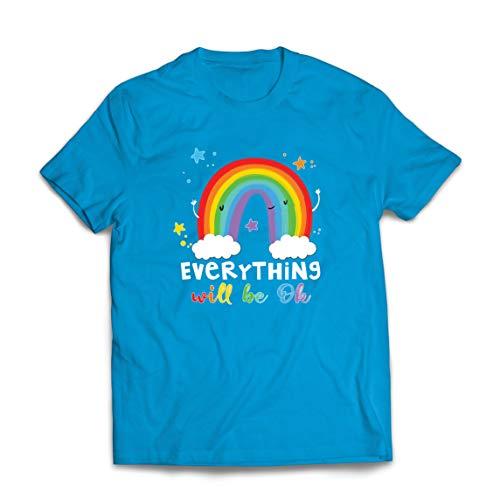 lepni.me Mannen T-shirt Alles Komt Goed Andrà Tutto Bene Regenboog Van Hoop