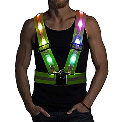 LED Reflective Safety Vest with Storage Pouch - USB Charging Elastic and Adjustable Reflective Running Gear for Outdoor Sports Dog Walking Cycling Motorcycle - LED Glowing Reflector Straps (Colorful)