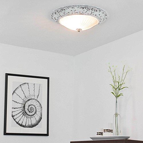 Klassische Deckenleuchte Ø36cm Klassisch Weiß Silber Schale Ornament Innenleuchte Flurleuchte Deckenlampe