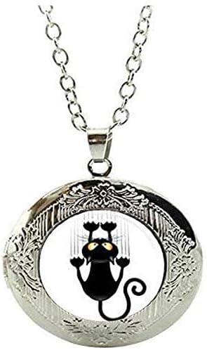 Handmade Black cat Locket Necklace Glass Jewelry Art Picture Jewelry