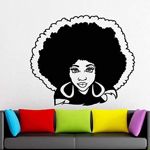 Arte Mujer Africana Cabeza Turbante Etiquetas de Pared Moda Nativo Moda Cara Tatuajes Sofá Fondo Fondo Mural Decoración 48x42cm