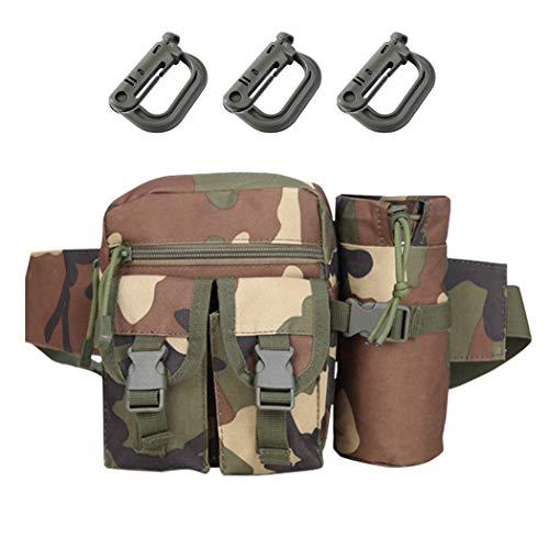 Aoutacc Riñonera táctica militar con bolsillo para botella de agua, apta para senderismo, camping, montañismo, pesca, actividades al aire libre