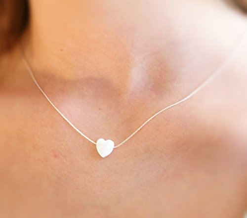 White Opal heart necklace Sterling Silver wire-cable Length 16 inches + extender