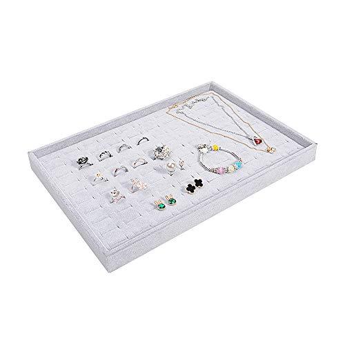 Bandeja organizadora para anillos y anillos de franela gris, para joyas y accesorios de joyería