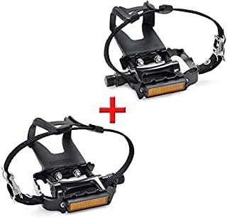 SEQI Bike Pedals with Clips and Straps for Outdoor Cycling and Indoor Stationary Bike 9/16-Inch Spindle Resin/Alloy Bicycle Multi-Purpose Pedals
