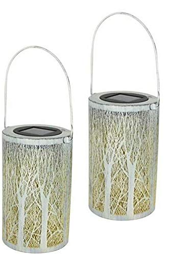 Hanging Lantern Set 2 Pieces Solar Warm White LED Candle Waterproof Vintage Garden Light Outdoor Yard Path Lamp Pond Tree Line Branch Pattern Balcony Outdoor Votive Walkway Classic Bulb Not Include
