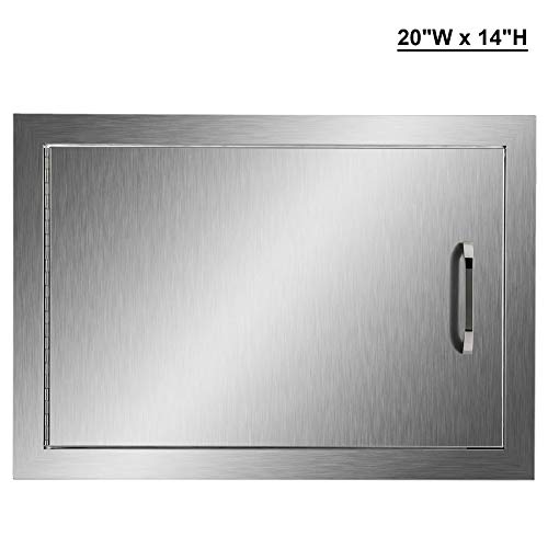 """CO-Z Outdoor Kitchen Doors, 304 Brushed Stainless Steel Single Access Doors for Outdoor Kitchen, Commercial BBQ Island, Grilling Station, Outside Cabinet, Barbeque Grill, Built-in (20"""" W x 14"""" H)"""