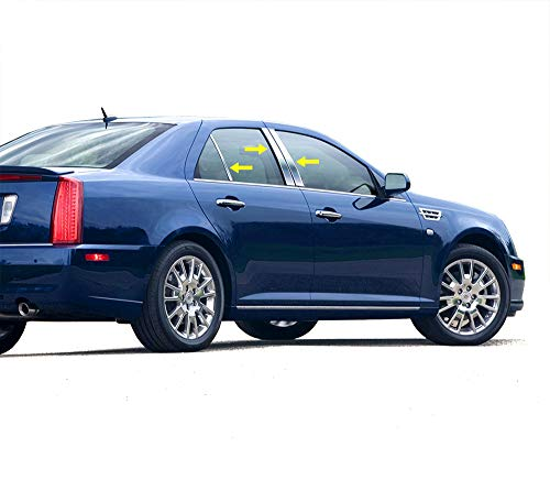 Made in USA! Compatible with 2005-2011 Cadillac STS 6PC Stainless Steel Chrome Pillar Post Trim