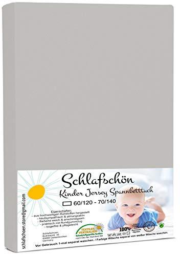 Schlafschön Kinder Baby Jersey Spannbettlaken 100% Baumwolle passend 60x120-70x140 cm (Silbergrau)