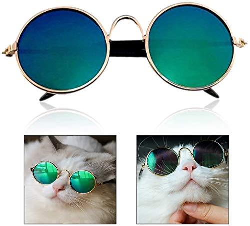 Jihan Gafas de sol para mascotas, perros a la moda, gatos, gafas redondas, fotos de mascotas, props (color como muestras).