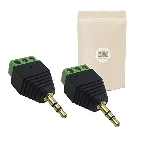 X2 CJT Bornier Mini Jack 3.5mm Fiche Audio Minijack Male 3 Bornes à Vis Femelle Stereo sans Soudure Connecteur Prise plaqué Or 18k - ADAPTOUT Marque FRANÇAISE
