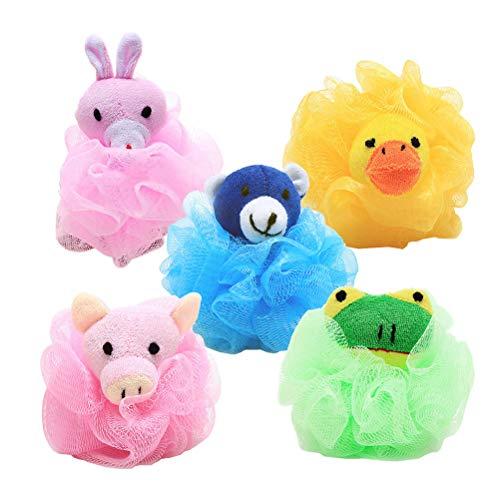 Frcolor Bain de douche animaux loofahs éponge exfoliant balle pouffes de corps de dessin animé mignon enfants 5pcs