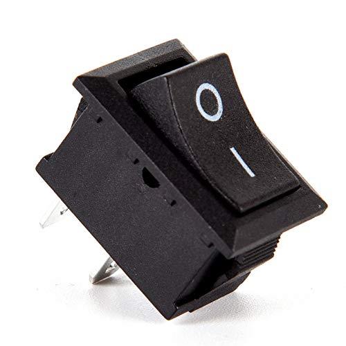 Aolongjs Interruptores de Palanca 10 unids Lote 2 Pin 12V Barco de Coches Dot Redondo Encendido/Apagado Rocker Toggle Switch Herramienta Negro