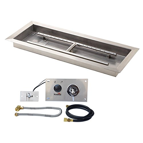 Stanbroil 30 inch Rectangular Drop-In Fire Pit Pan with Spark Ignition Kit Natural Gas Version