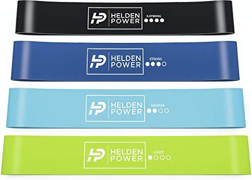 Heldenpower® Sport Fitness Band – 4 Power Fitnessbänder Set inkl. Profi-Videoanleitung - Fit von Zuhause, Ideal für Training, Arme, Bauch, Beine, Po, Rücken - Gummiband, Resistance Bands