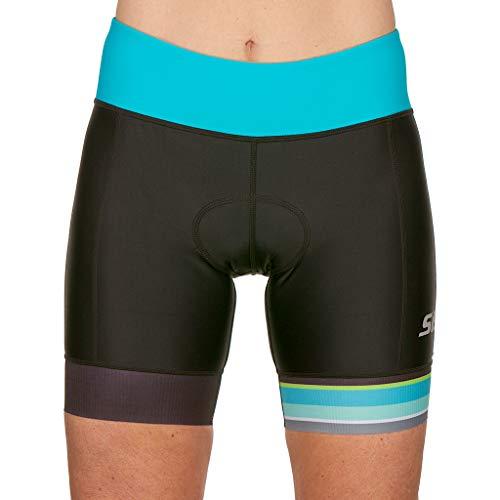 SLS3 Womens Triathlon Shorts FRT | 6 inch Black Women Tri Short | Super Comfy Tri-Shorts with Soft Chamois | German Designed (Black/Martinica Blue, Medium)