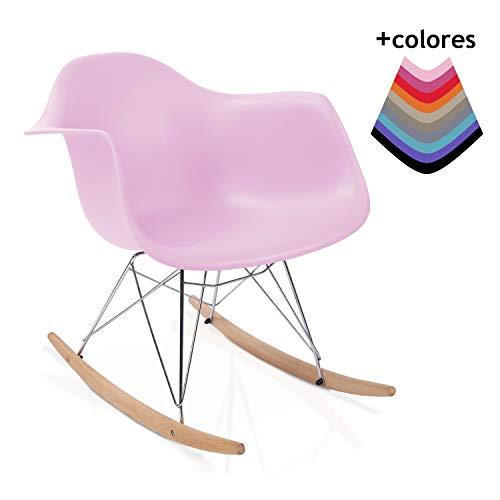 duehome Rocker - Silla Mecedora, Color Rosa y Madera Haya, sillas balancin, Silla diseño nórdico, Medidas: 69,5 cm Alto x 63 cm Ancho x 65,5 cm Fondo