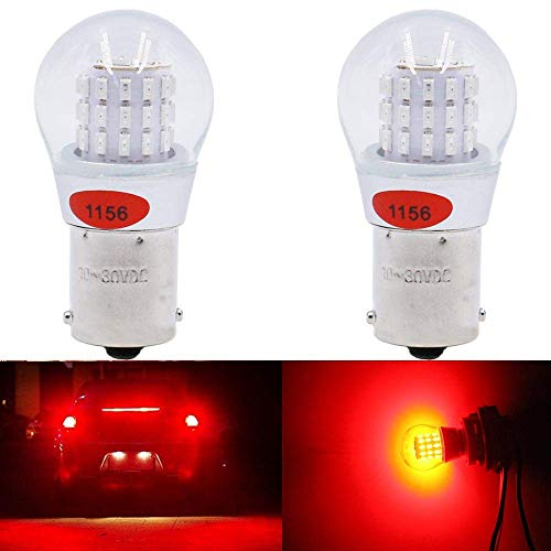 AMAZENAR 2-Pack 1156 BA15S 7506 1141 1003 1073 Extremely Bright Red LED Light 9-30V-DC, AK-3014 39 SMD Replacement Bulbs For Tail Brake Light Lamps