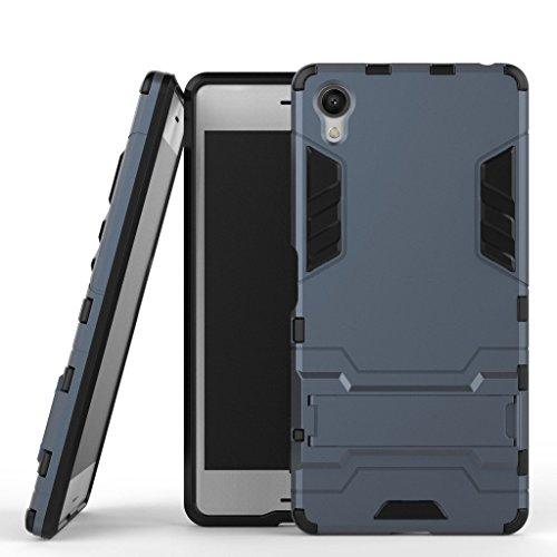MaiJin Coque pour Sony Xperia X (5 Pouces) 2 en 1 Double Couches Étui Antichocs Protection Rigide Anti Choc avec Fonction Support (Bleu Noir)