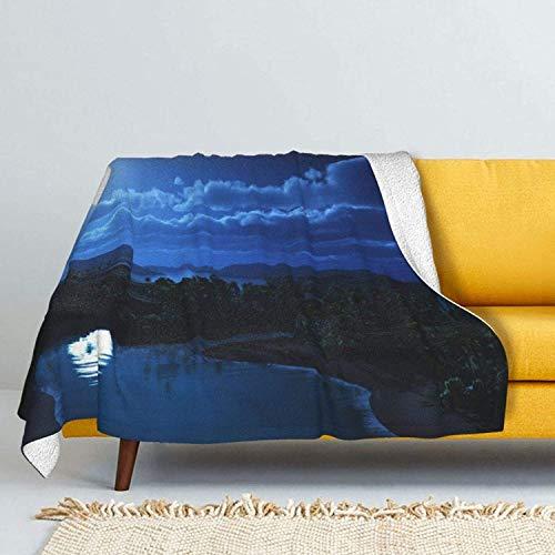 Coperta in lana d'agnello con vista notturna della California, ultra morbida, per divano letto, ippopotamo primavera-152,4 x 127 cm