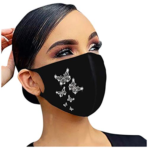 Rhinestone Shiny Face_Mask Washable for Women, Breathable Cloth Fabric_Masks Reusable for Nose and Mouth Protection