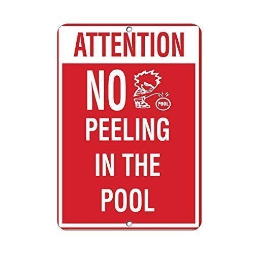 DKISEE Tin Art Sign, Bar Decoration, Attention No Peeing in The Pool Activity Sign Pool Signs Sign Aluminum Metal Sign Wall Decoration 10x14 inch