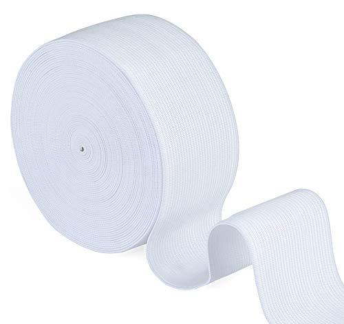 Agoer Bande élastique blanche de 50 mm de large – 10 mètres (11 yards) en caoutchouc élastique pour la couture, la maison, l'artisanat (blanc)