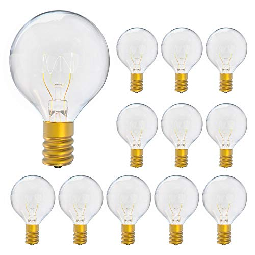 Light Bulb, G40 Light Bulbs Screw in, E12 Edison Bulb Replacement for Outdoor String Lights, 7W Incandescent Bulbs, Warm White, 12 Pack