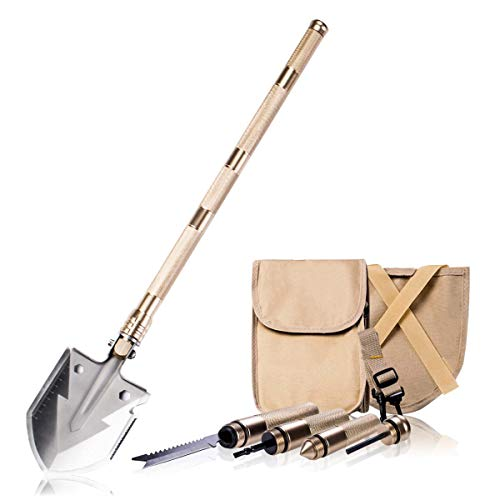 BACOENG 17 in 1 Folding Shovel - with Knife and Fire Starter - Perfect for Snow Shovel, Entrenching Tool, Auto Emergency Kit, Survival Axe, Camping Multitool, Tactical, Military, Self-Defense