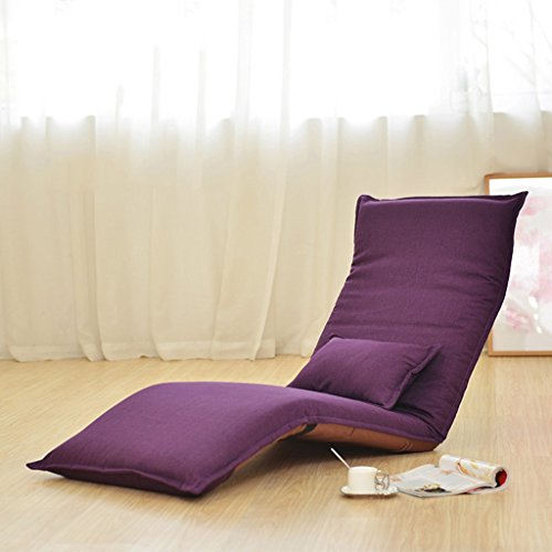 Buen sofá Sofá Perezoso Silla Plegable Silla de Oruga Silla de sofá Informal Silla de Dormitorio Silla de Respaldo (Color : Purple)