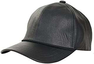 Levine Hat Co Men's Genuine Cowhide Leather Fitted Closed Back Baseball Cap (2 Colors)