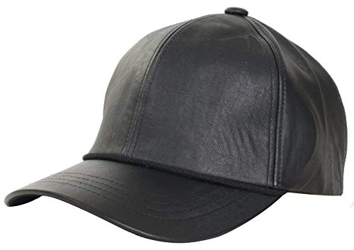 Levine Hats Company Genuine Cowhide Leather Baseball Cap. Garment Quality Leather and Fitted Sizes and Style. (Large (fits 7 1/4 to 7 3/8), Black)