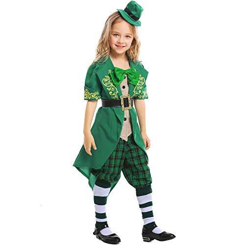 Qy Disfraces De Halloween para Niños, Disfraz De Niñas del Día De San Patricio, Disfraz De Duende Irlandés, Disfraz De Cosplay, Teatro, Disfraz De Festival