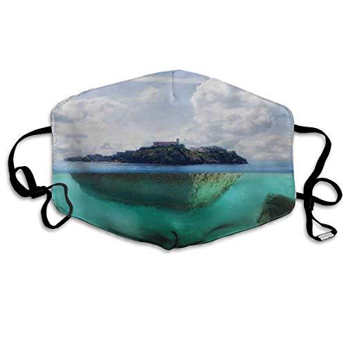 Mouth Cover,Schwimmender Felsen Und Leuchtturm Im Kristallklaren Atlantischen Wassernebel Naturfoto Gesicht Mundabdeckung, Leichte Mundnasenabdeckungen